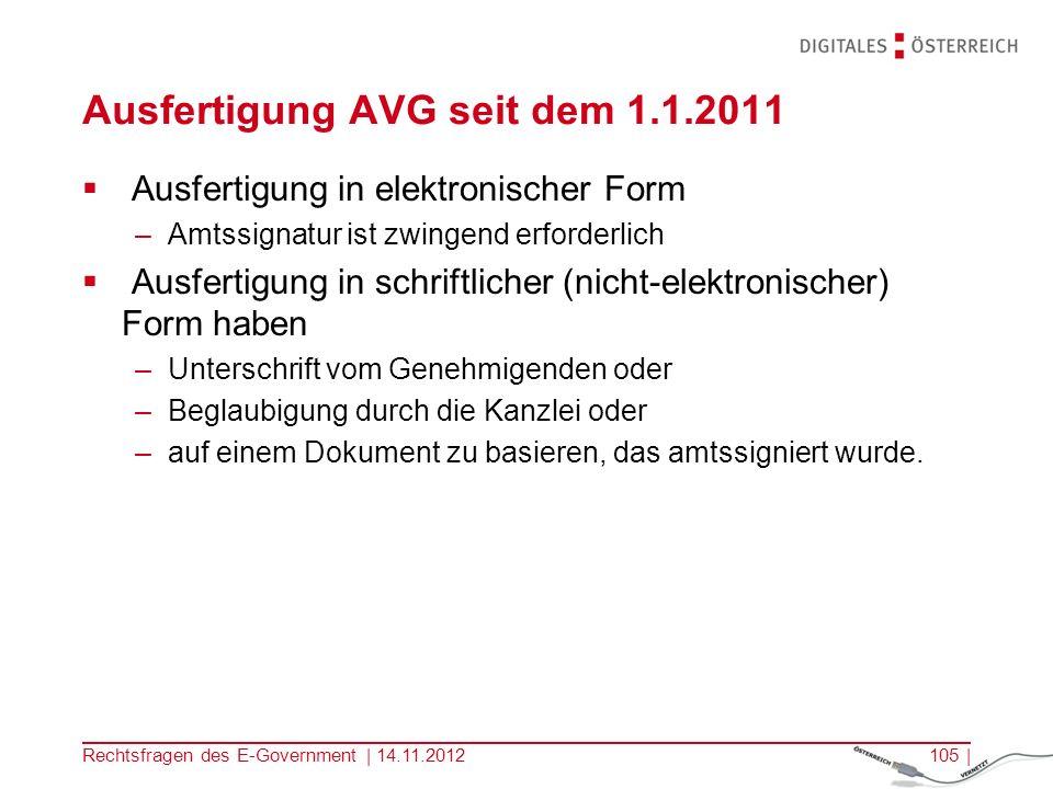 Ausfertigung AVG seit dem 1.1.2011