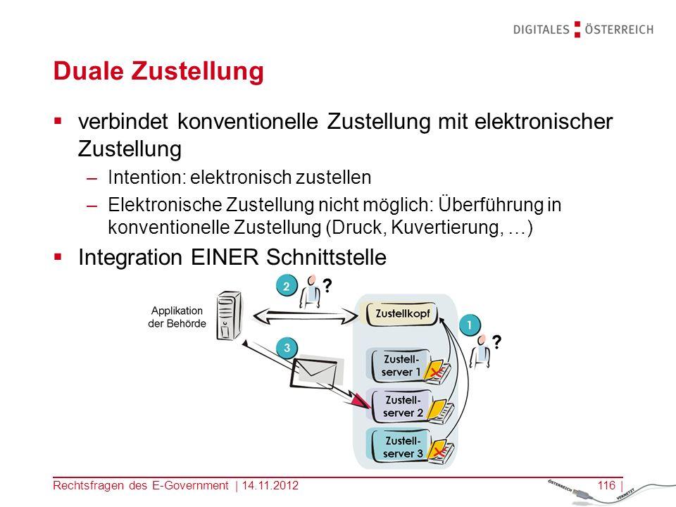 Kopfzeile Duale Zustellung. verbindet konventionelle Zustellung mit elektronischer Zustellung. Intention: elektronisch zustellen.