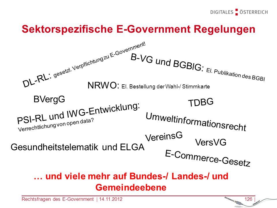 Sektorspezifische E-Government Regelungen
