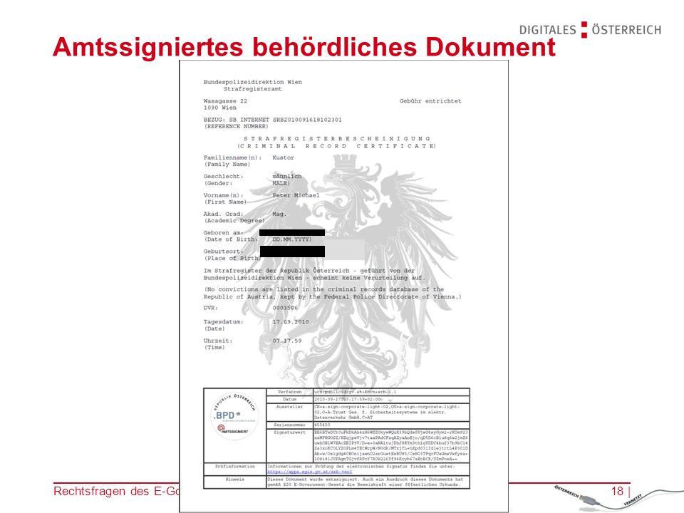 Amtssigniertes behördliches Dokument