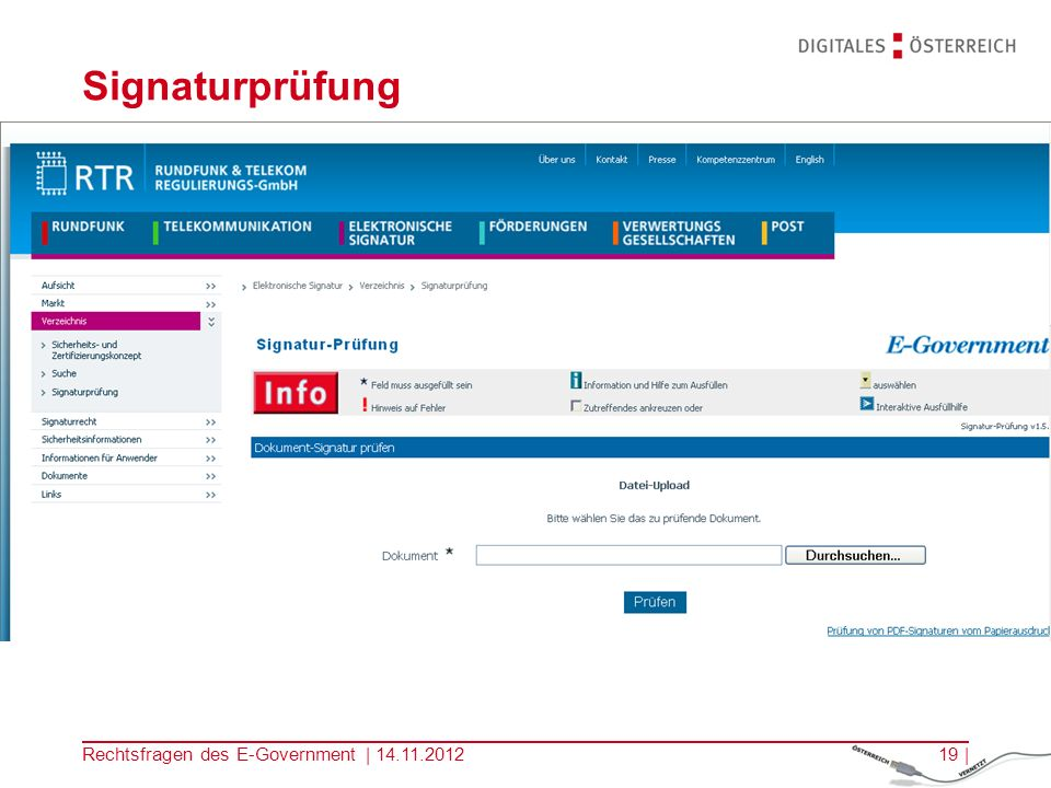 Signaturprüfung Rechtsfragen des E-Government | 14.11.2012