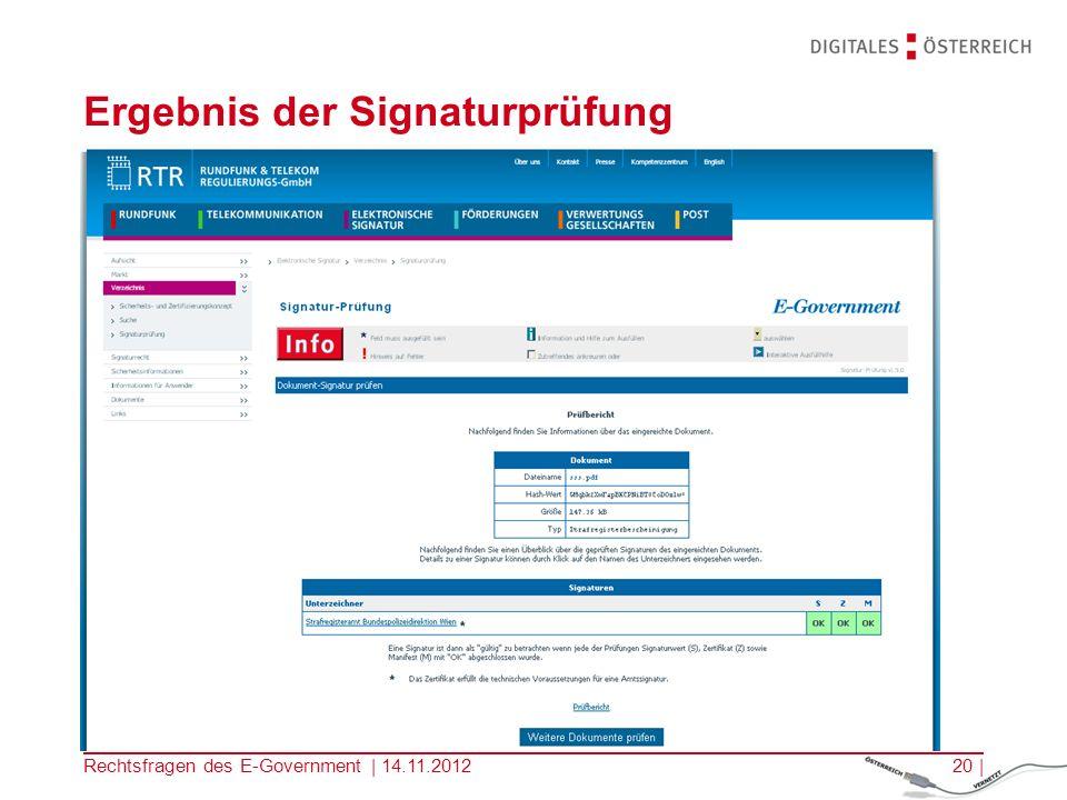 Ergebnis der Signaturprüfung