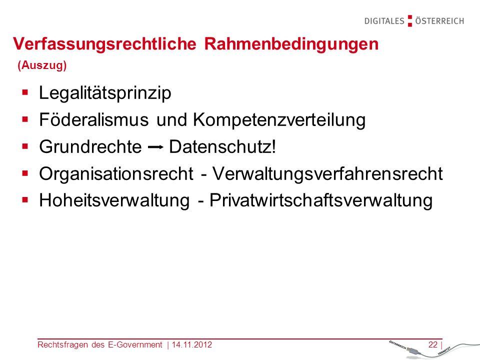 Verfassungsrechtliche Rahmenbedingungen (Auszug)