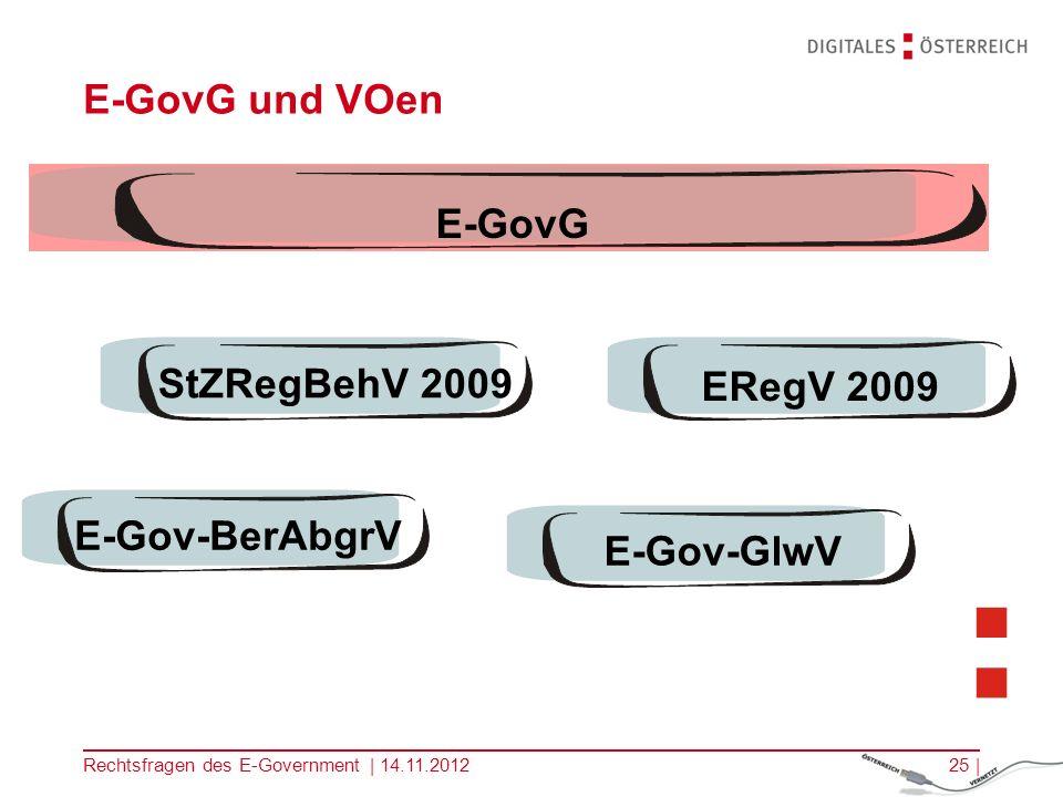 E-GovG StZRegBehV 2009 ERegV 2009 E-Gov-BerAbgrV E-Gov-GlwV
