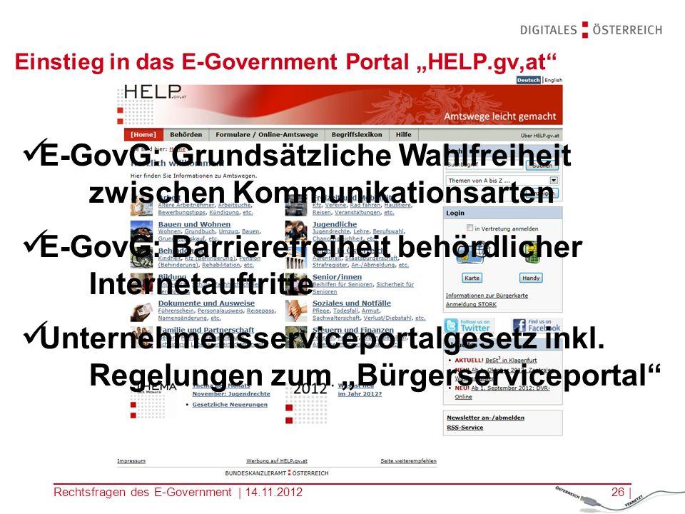"Einstieg in das E-Government Portal ""HELP.gv,at"