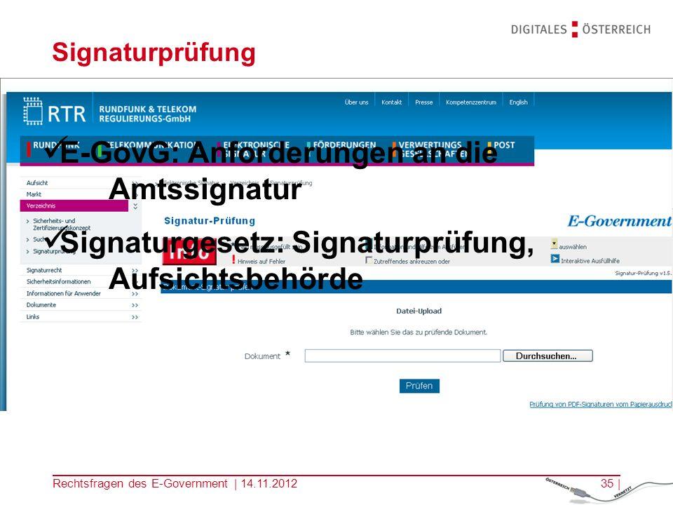 E-GovG: Anforderungen an die Amtssignatur