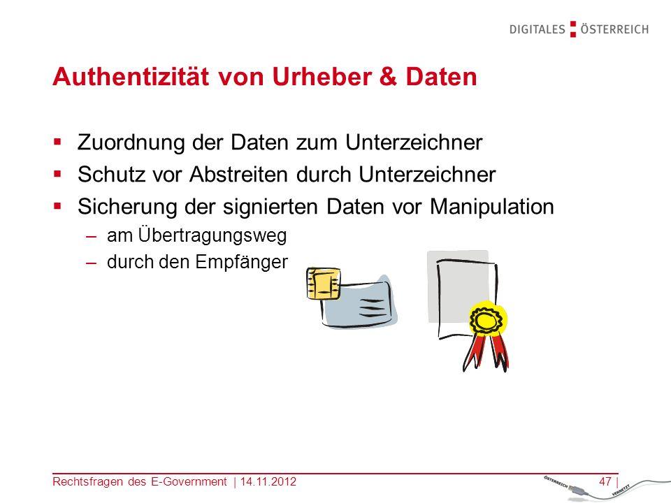 Authentizität von Urheber & Daten