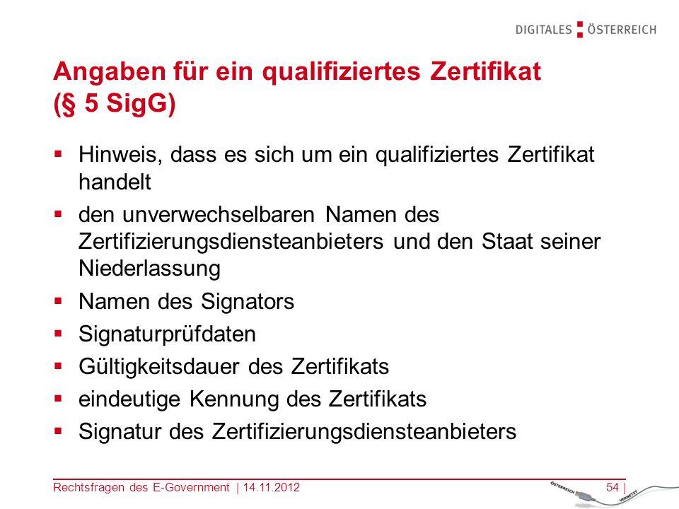 Angaben für ein qualifiziertes Zertifikat (§ 5 SigG)