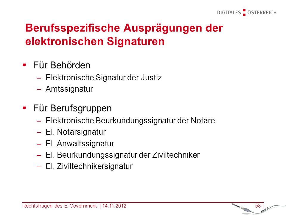 Berufsspezifische Ausprägungen der elektronischen Signaturen