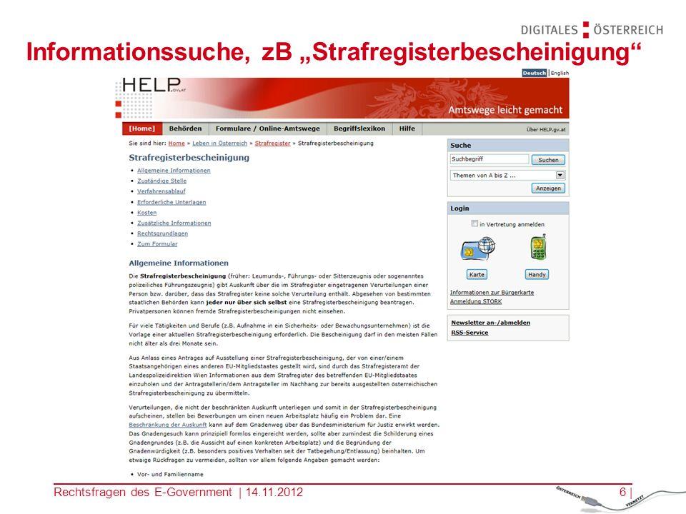 """Informationssuche, zB """"Strafregisterbescheinigung"""