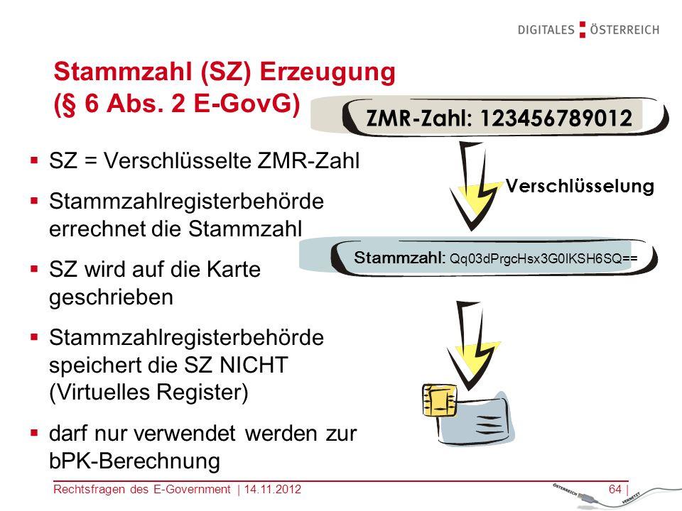 Stammzahl (SZ) Erzeugung (§ 6 Abs. 2 E-GovG)