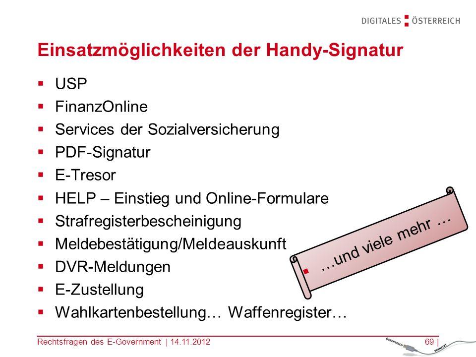Einsatzmöglichkeiten der Handy-Signatur