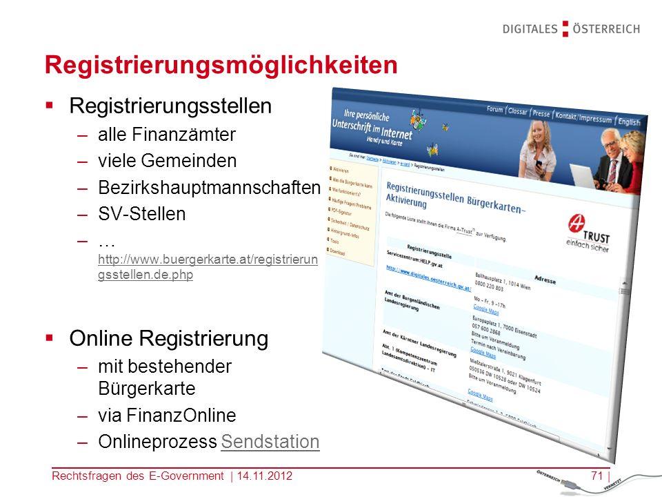Registrierungsmöglichkeiten