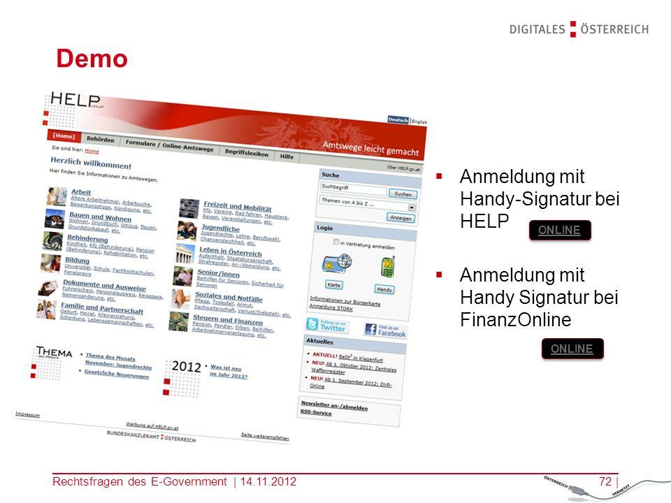 Demo Anmeldung mit Handy-Signatur bei HELP