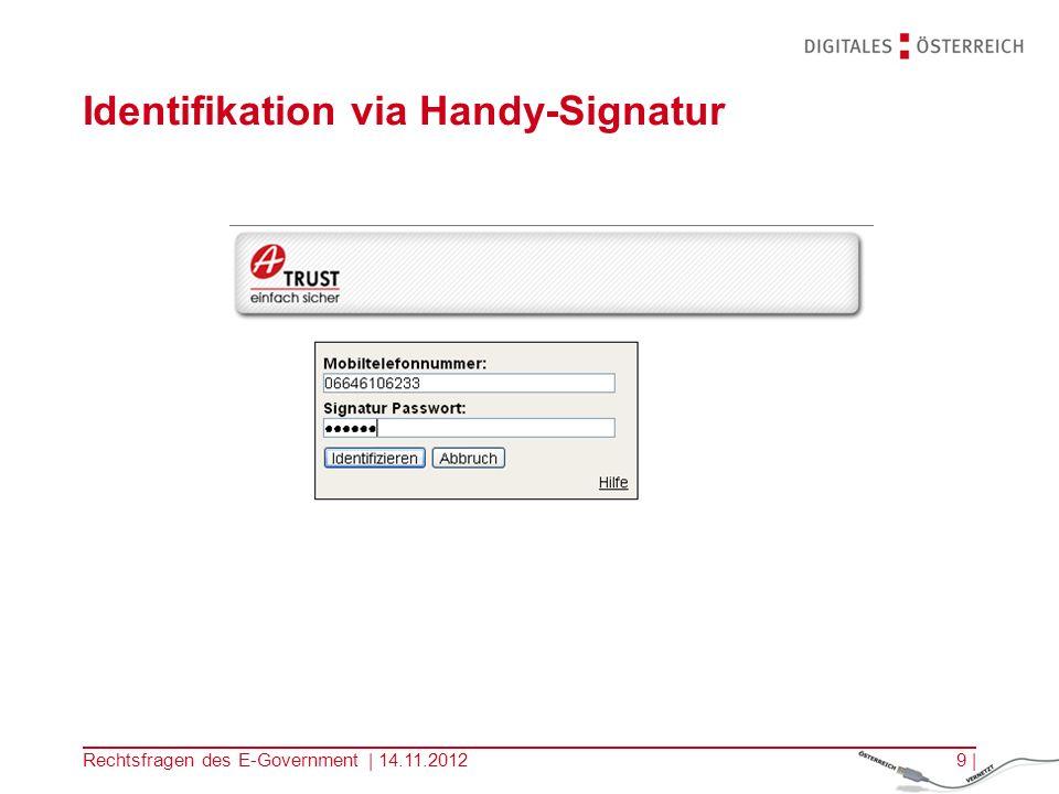 Identifikation via Handy-Signatur