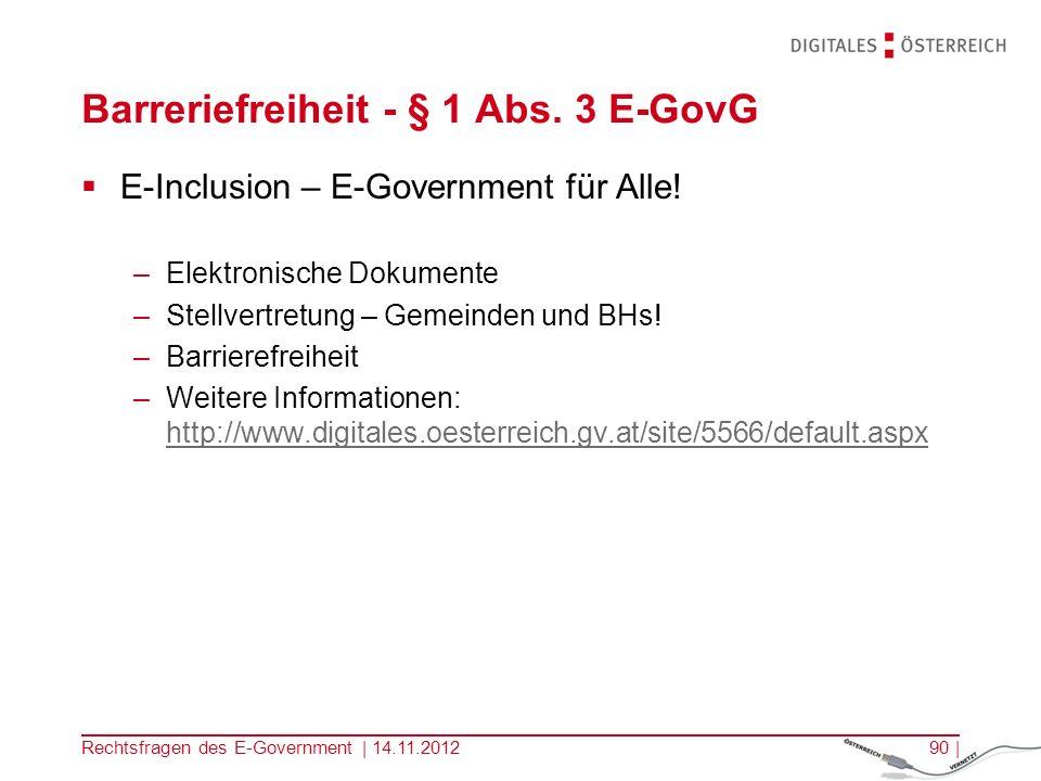 Barreriefreiheit - § 1 Abs. 3 E-GovG