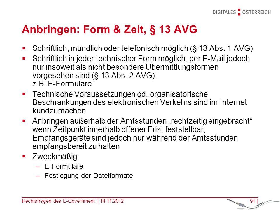 Anbringen: Form & Zeit, § 13 AVG
