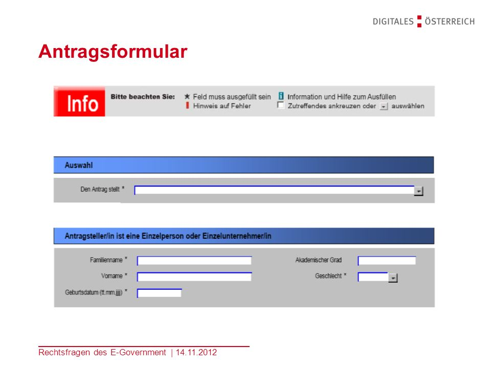 Antragsformular Rechtsfragen des E-Government | 14.11.2012 Kopfzeile