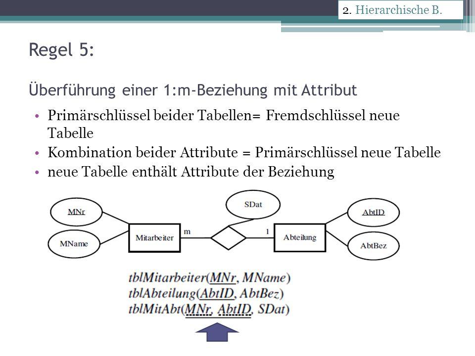 Regel 5: Überführung einer 1:m-Beziehung mit Attribut