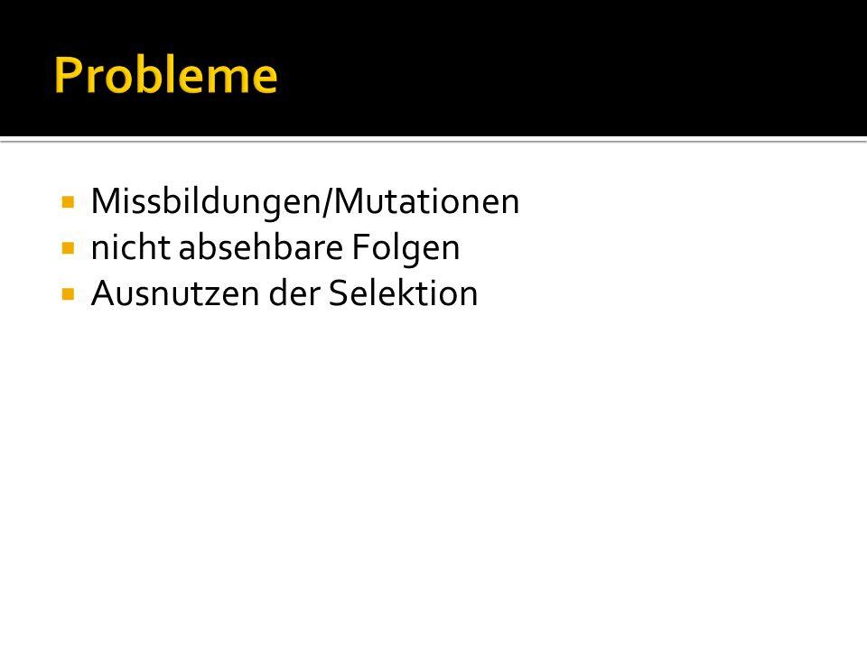 Probleme Missbildungen/Mutationen nicht absehbare Folgen