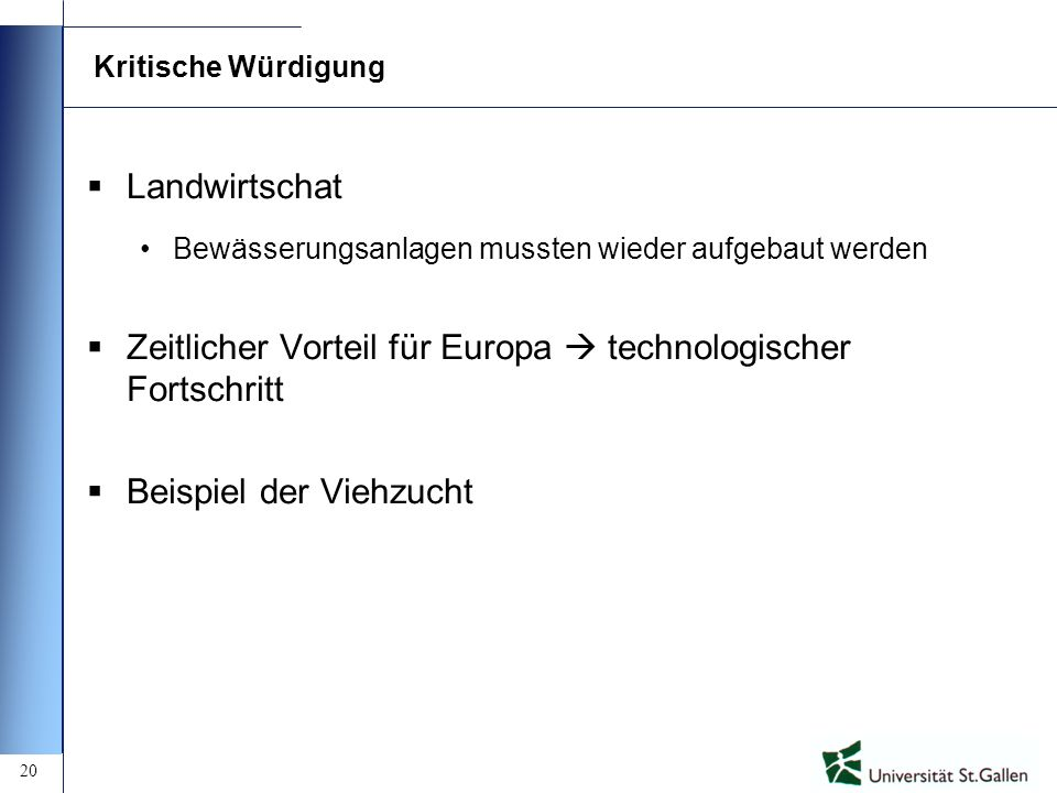 Zeitlicher Vorteil für Europa  technologischer Fortschritt