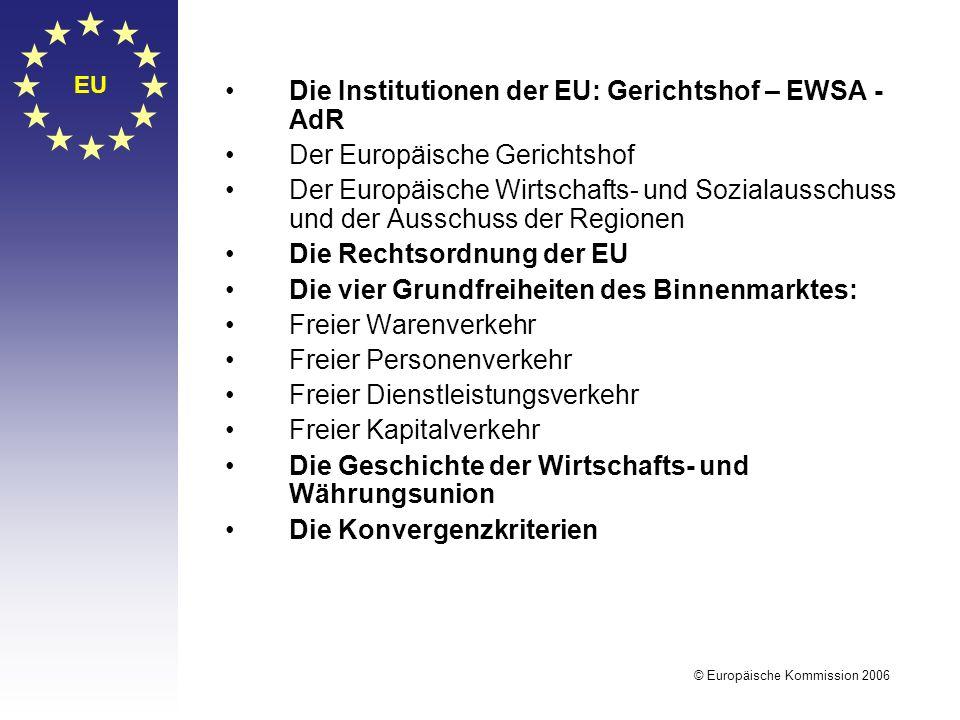 Die Institutionen der EU: Gerichtshof – EWSA - AdR