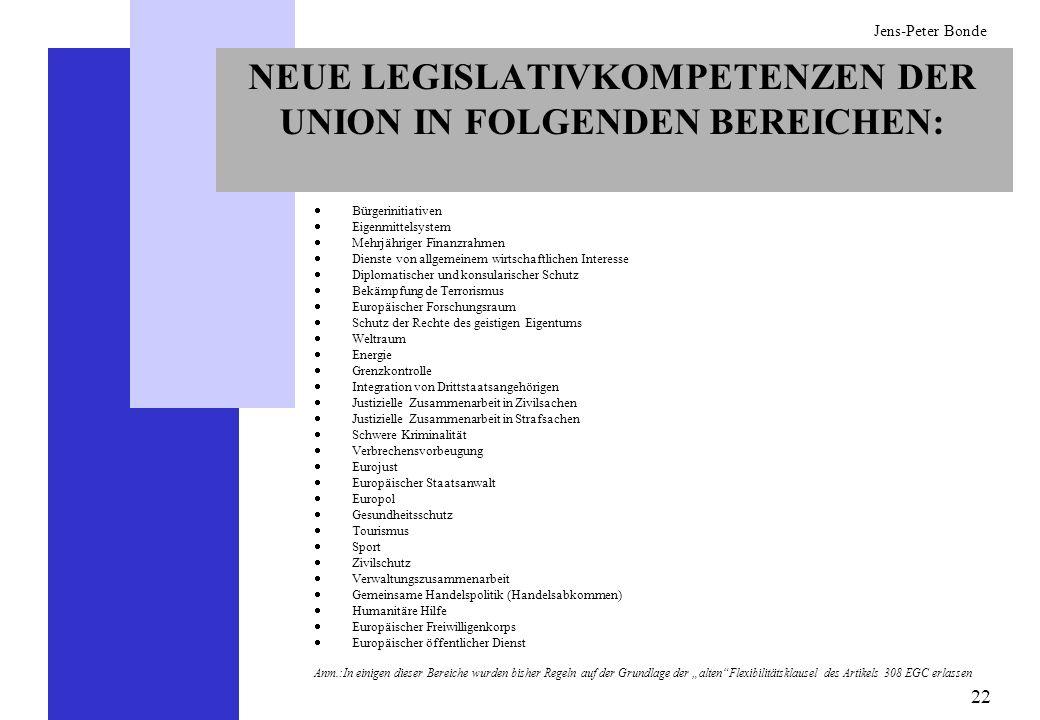 NEUE LEGISLATIVKOMPETENZEN DER UNION IN FOLGENDEN BEREICHEN: