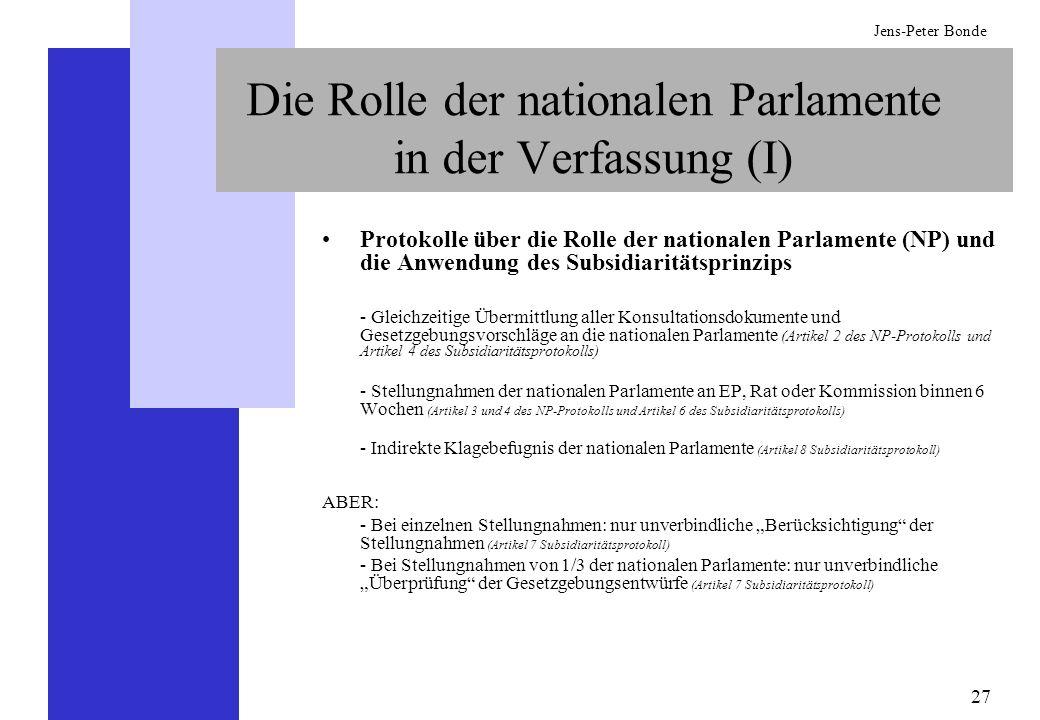 Die Rolle der nationalen Parlamente in der Verfassung (I)
