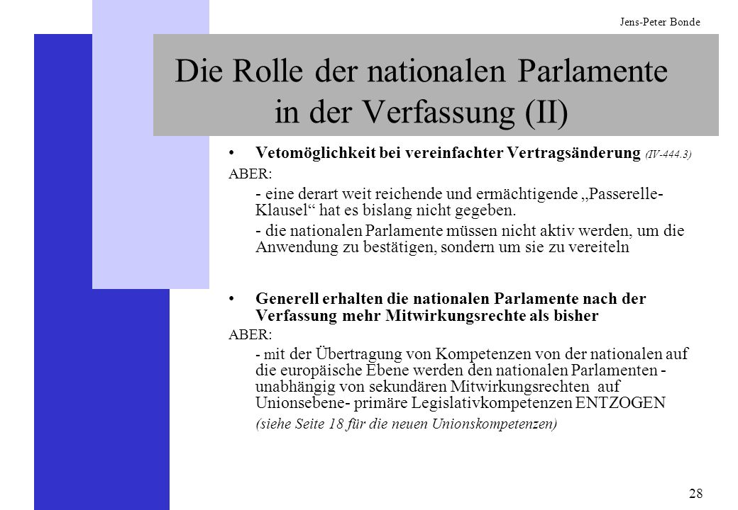 Die Rolle der nationalen Parlamente in der Verfassung (II)