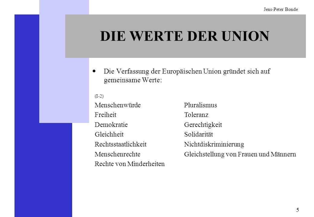 DIE WERTE DER UNION Die Verfassung der Europäischen Union gründet sich auf gemeinsame Werte: (I-2)
