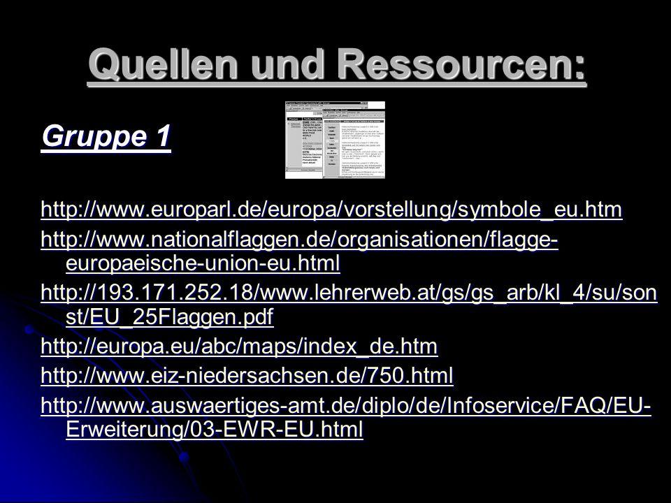 Quellen und Ressourcen: