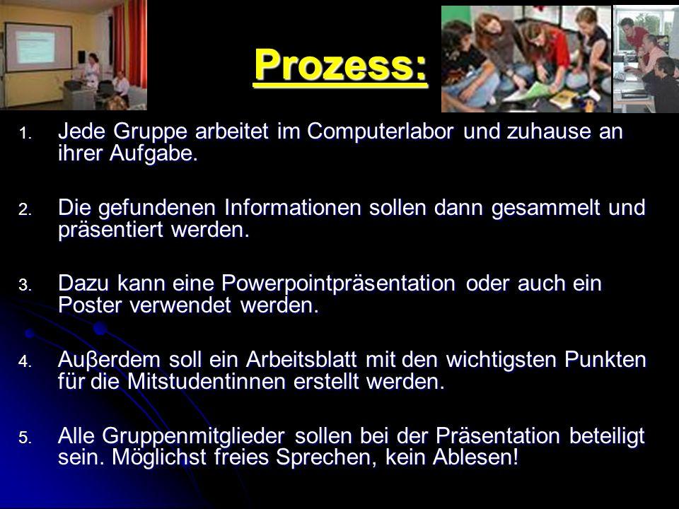Prozess: Jede Gruppe arbeitet im Computerlabor und zuhause an ihrer Aufgabe.