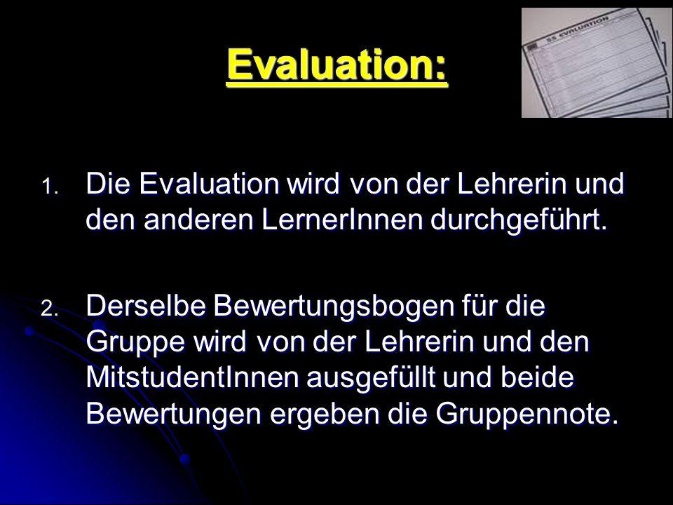 Evaluation: Die Evaluation wird von der Lehrerin und den anderen LernerInnen durchgeführt.