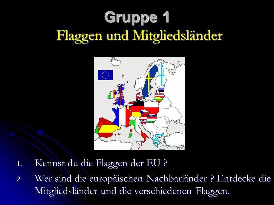 Gruppe 1 Flaggen und Mitgliedsländer