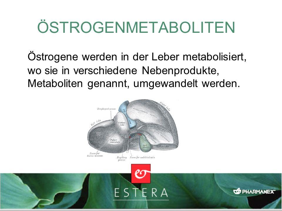ÖSTROGENMETABOLITEN Östrogene werden in der Leber metabolisiert, wo sie in verschiedene Nebenprodukte, Metaboliten genannt, umgewandelt werden.