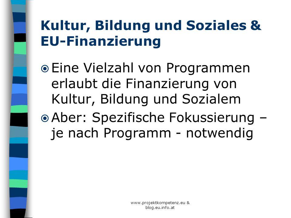 Kultur, Bildung und Soziales & EU-Finanzierung