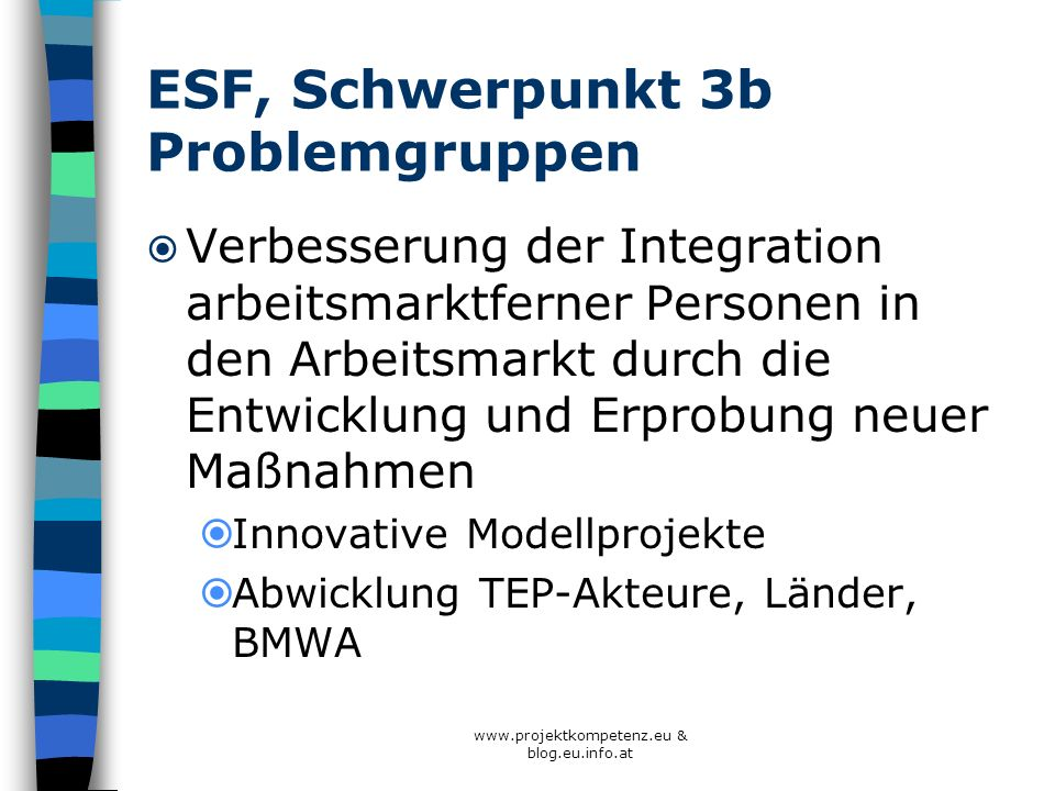ESF, Schwerpunkt 3b Problemgruppen