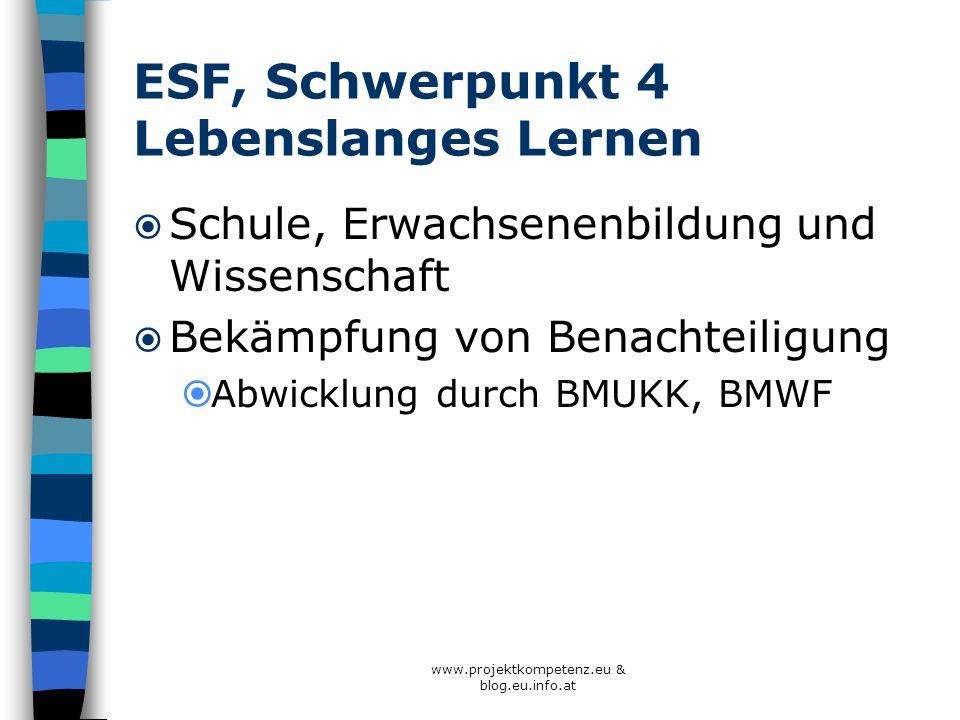 ESF, Schwerpunkt 4 Lebenslanges Lernen