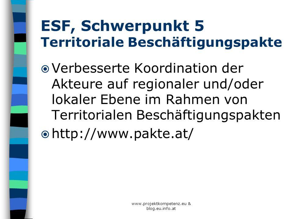 ESF, Schwerpunkt 5 Territoriale Beschäftigungspakte