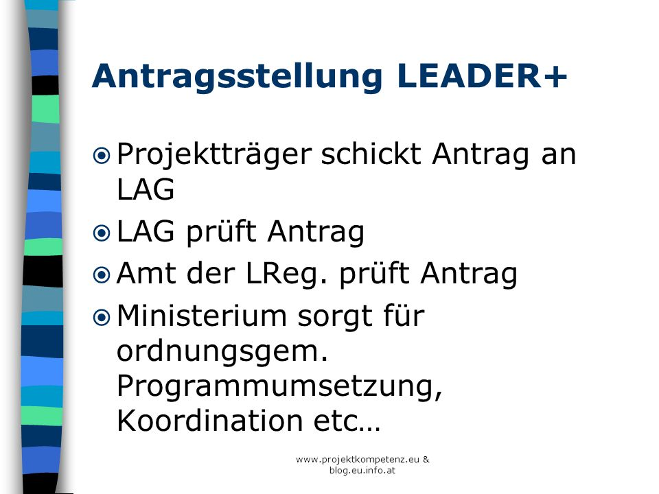 Antragsstellung LEADER+