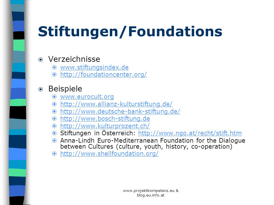 Stiftungen/Foundations