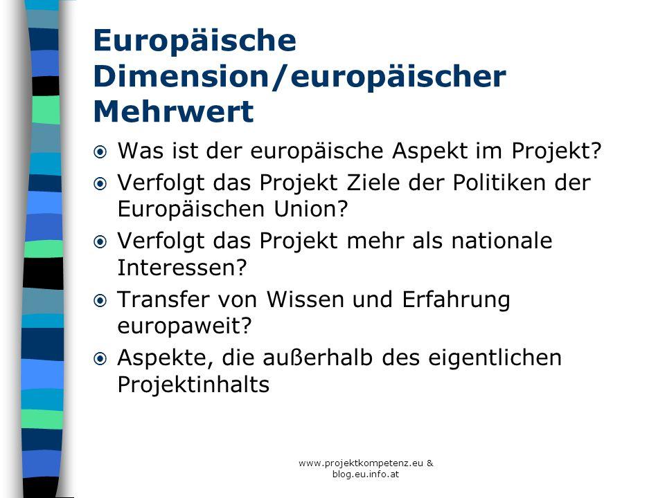 Europäische Dimension/europäischer Mehrwert