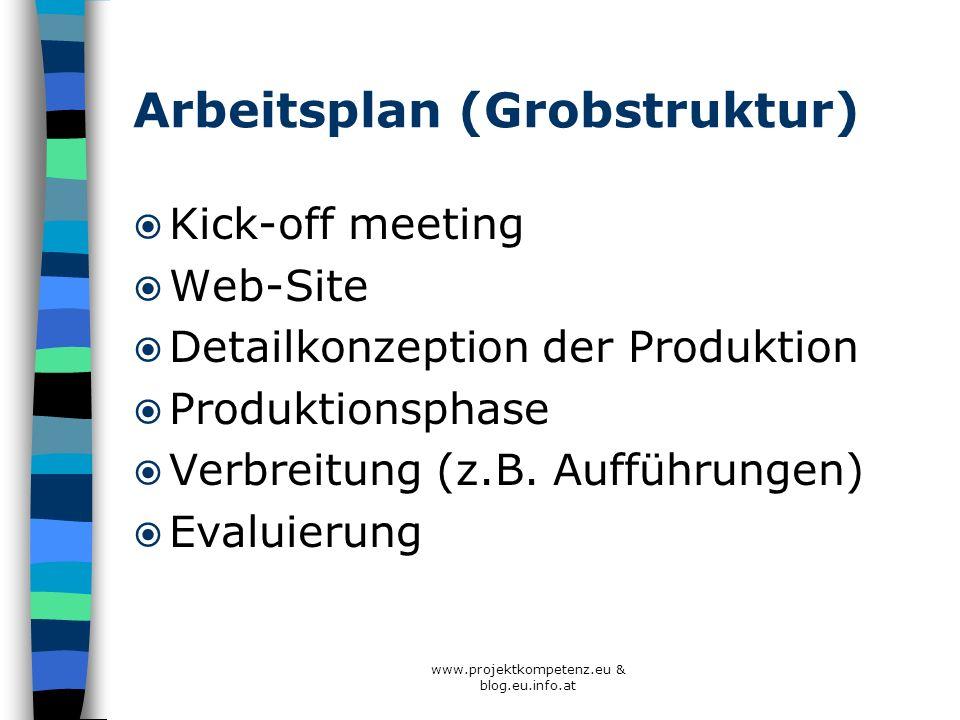 Arbeitsplan (Grobstruktur)