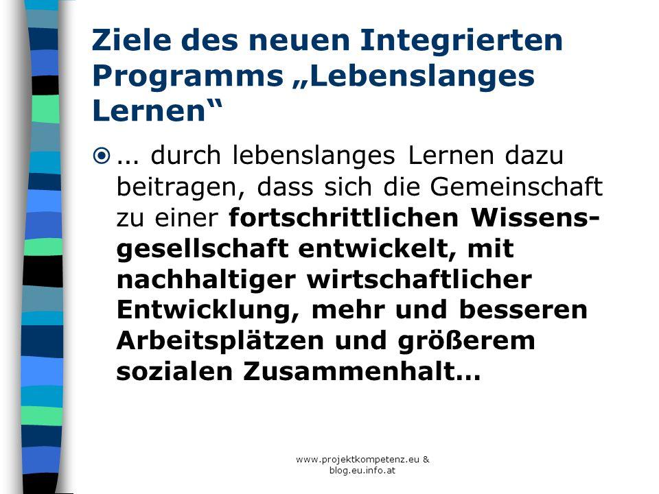 """Ziele des neuen Integrierten Programms """"Lebenslanges Lernen"""