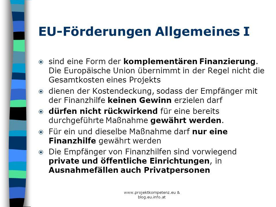 EU-Förderungen Allgemeines I