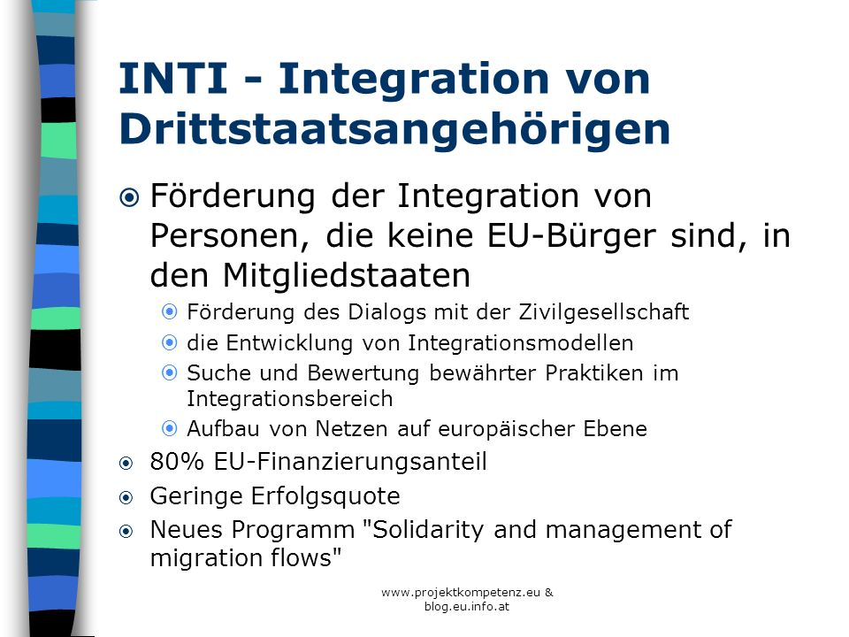 INTI - Integration von Drittstaatsangehörigen