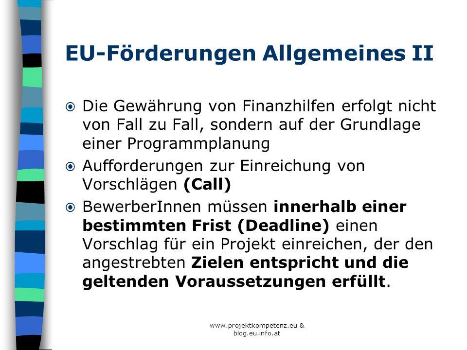 EU-Förderungen Allgemeines II
