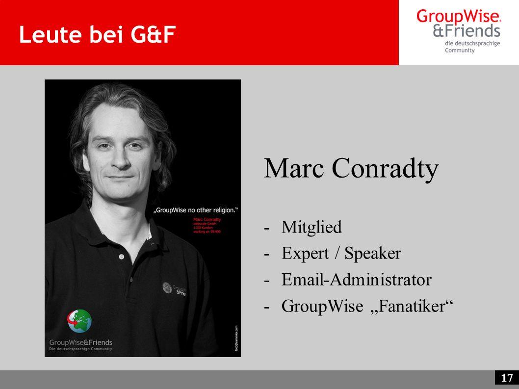 Marc Conradty Leute bei G&F Mitglied Expert / Speaker