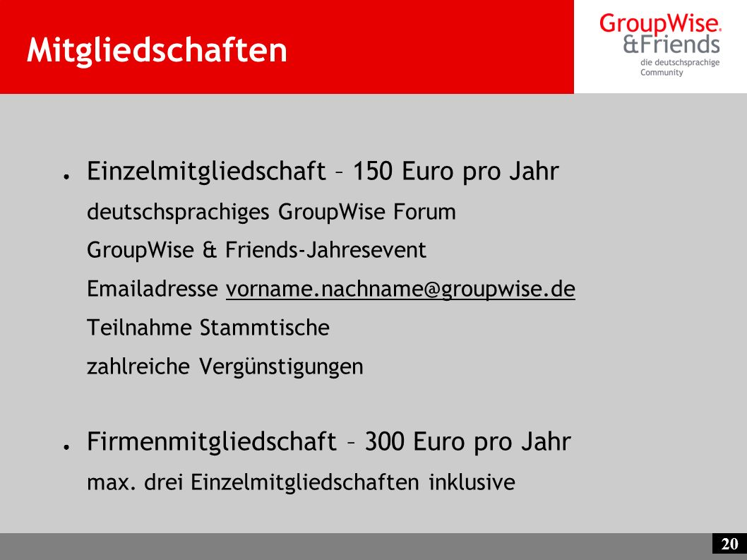 Mitgliedschaften Einzelmitgliedschaft – 150 Euro pro Jahr
