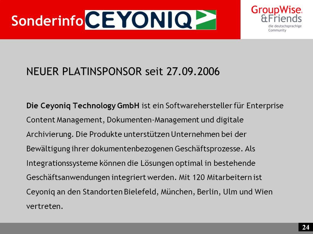 Sonderinfo Ceyoniq NEUER PLATINSPONSOR seit 27.09.2006